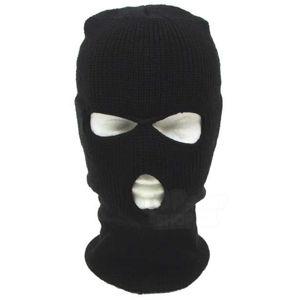 Zimná kukla MFH® akrylová pletená so 3 otvormi - čierna (Farba: Čierna)