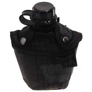 Poľná fľaša US MFH® 1 l v nylonovom puzdre - čierna (Farba: Čierna)