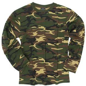 Bavlnené tričko s dlhým rukávom Mil-Tec® - woodland (Farba: US woodland, Veľkosť: S)