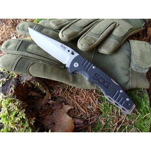Zatvárací nôž SOG® Salute (Varianta: šedá čepel - Bead Blasted)