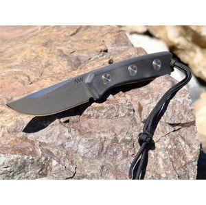 Nôž s pevnou čepeľou ANV® P200 Mk. II - Stone wash, puzdro kožené (Varianta: šedá čepel - Stone Wash + kožené pouzdro)